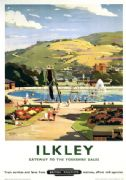 Vintage British Railways Travel Poster Ilkley Yorkshire Dales England